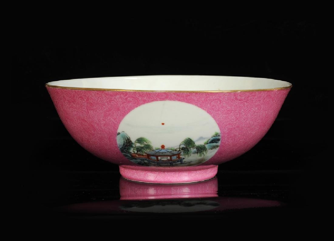 A polychrome porcelain medallion bowl with a decor of