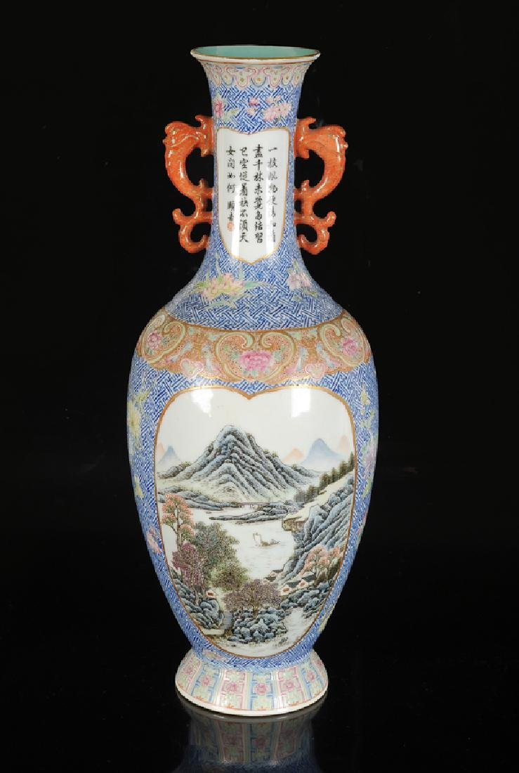 A polychrome porcelain vase with a decor of landscapes