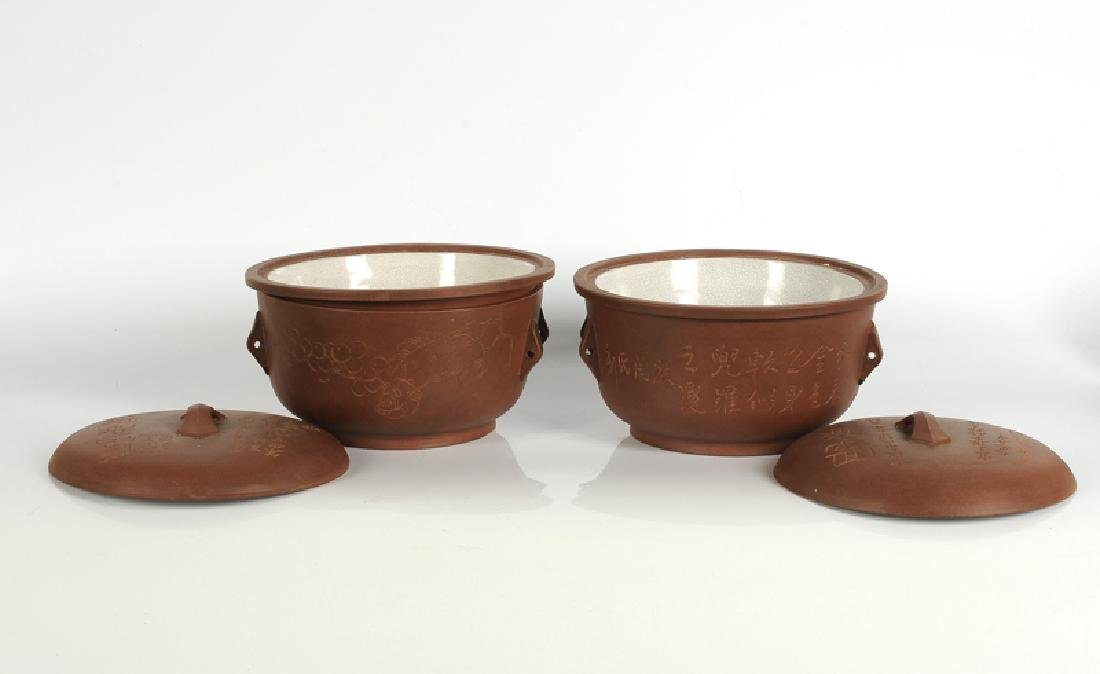 A pair of Yixing tureens with cover with a decor of - 2