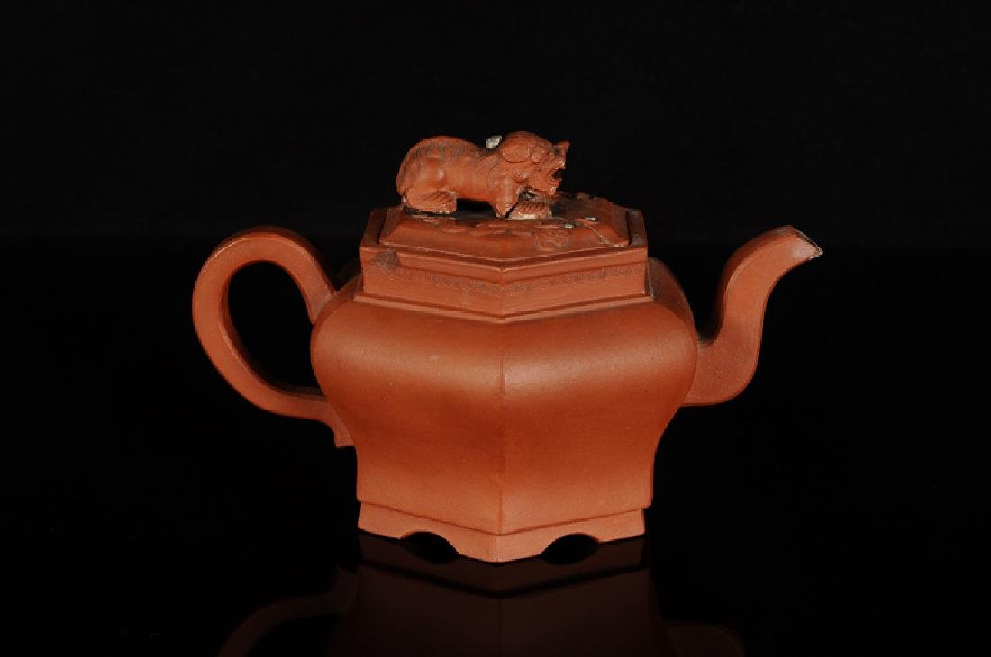 A hexagonal Yixing teapot, knob in the shape of a lion. - 2