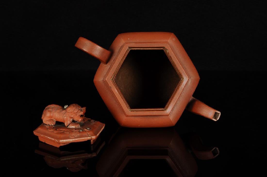 A hexagonal Yixing teapot, knob in the shape of a lion. - 4