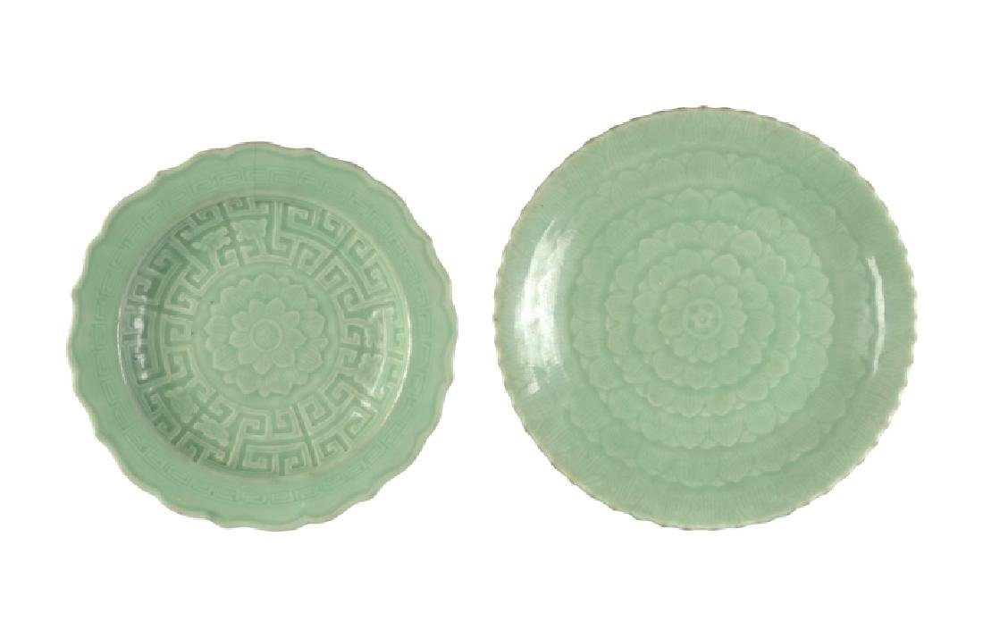 Two celadon plates. China, 19th century. Diam. 27 and