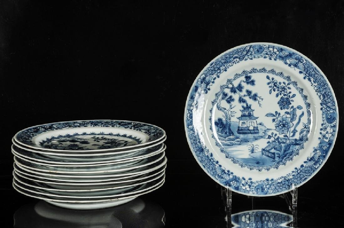 A set of 12 blue and white porcelain plates decorated