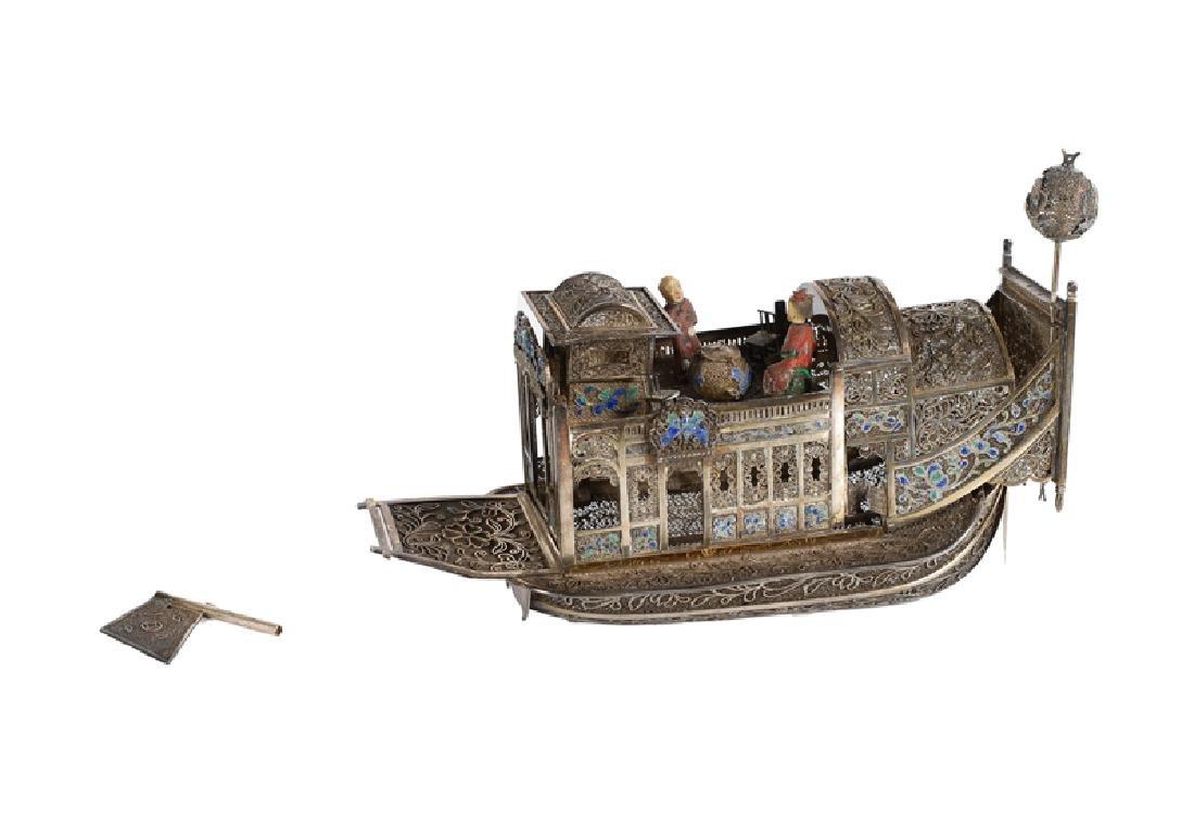 A filigrain silver (below Dutch elloy) flowerboat.