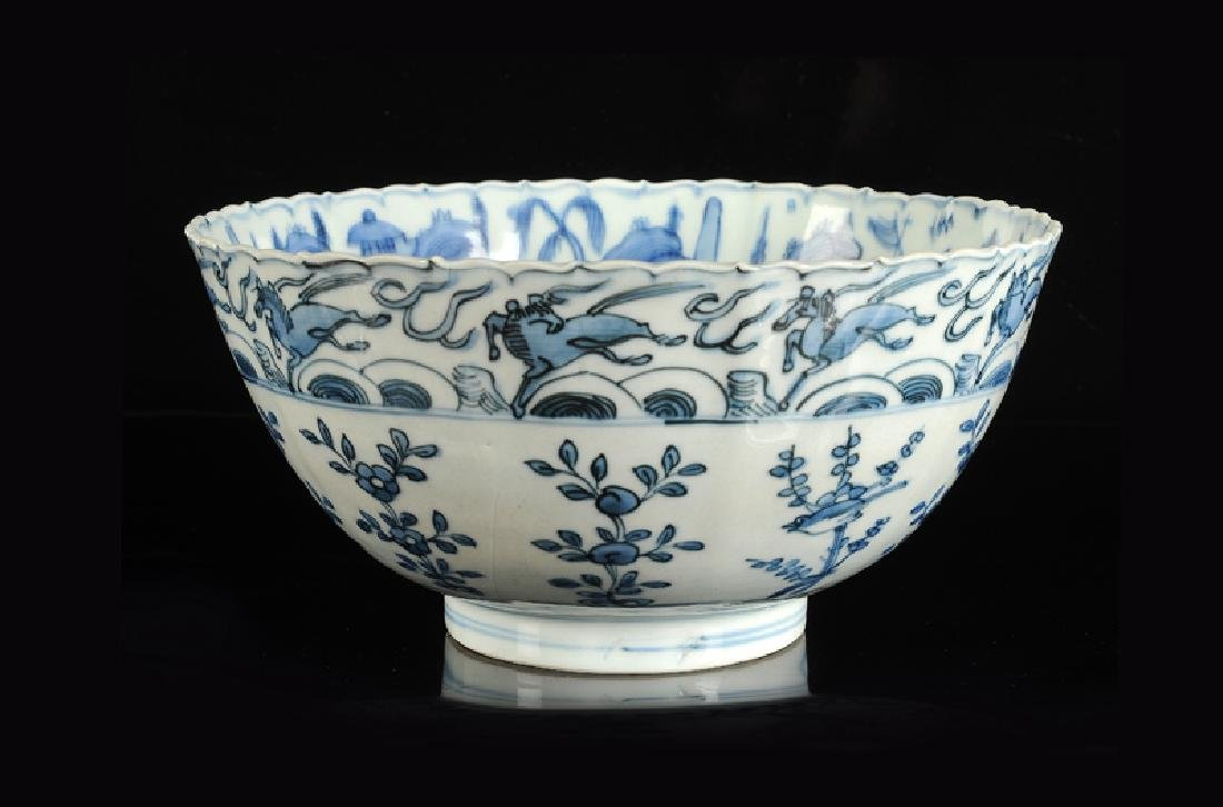 Two blue and white 'kraak' porcelain bowls. 1) Deep
