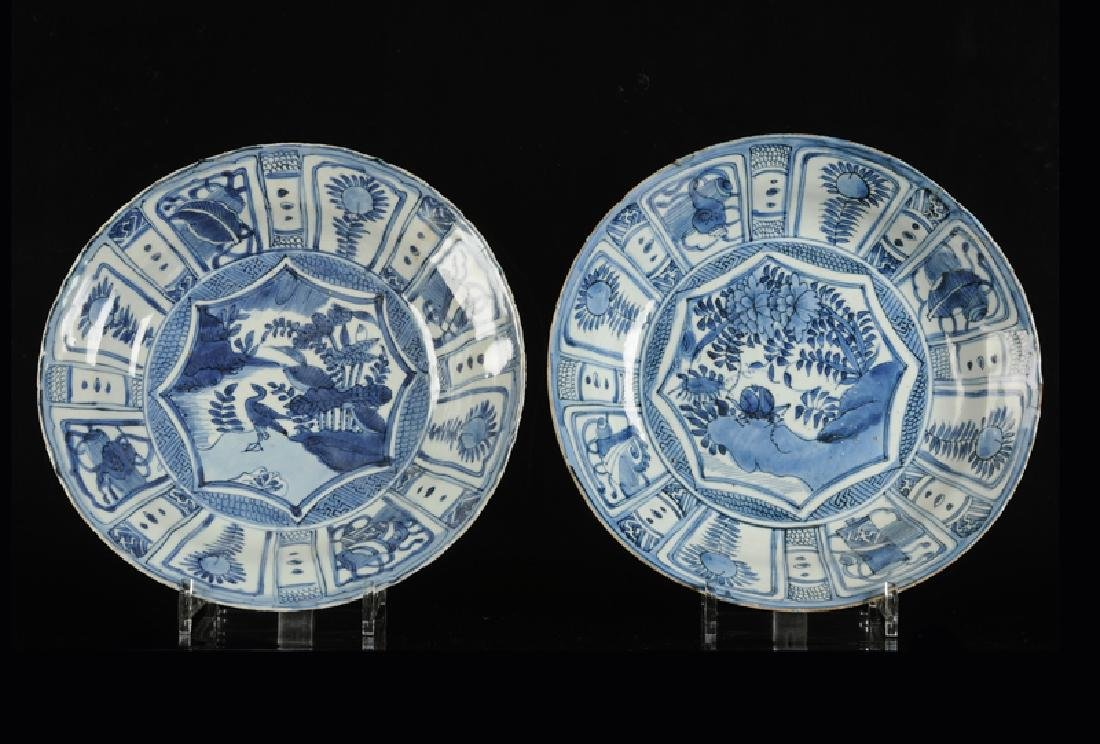 A lot of two blue and white porcelain plates, decorated