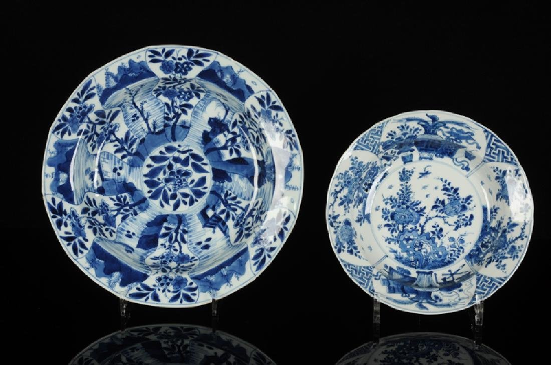Two blue and white porcelain deep dishes. 1) A decor of