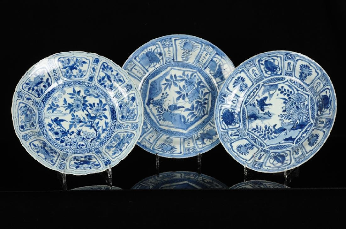 Three blue and white 'kraak' porcelain dishes with a