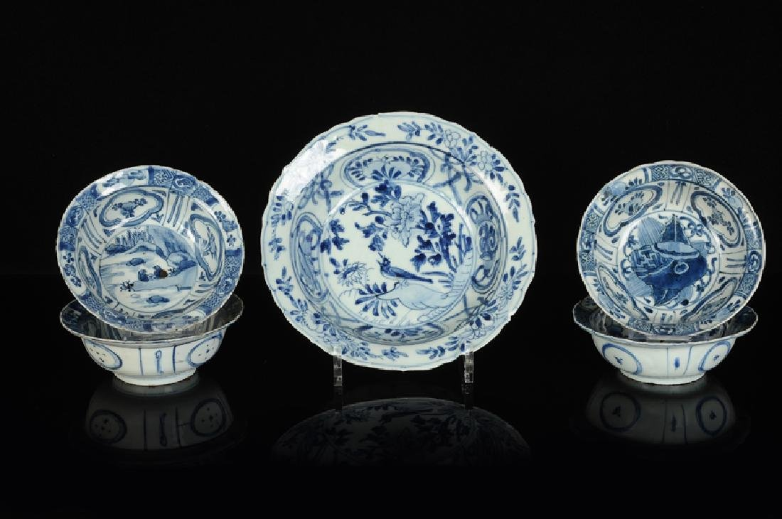 A blue and white porcelain bowl with a decor of a bird