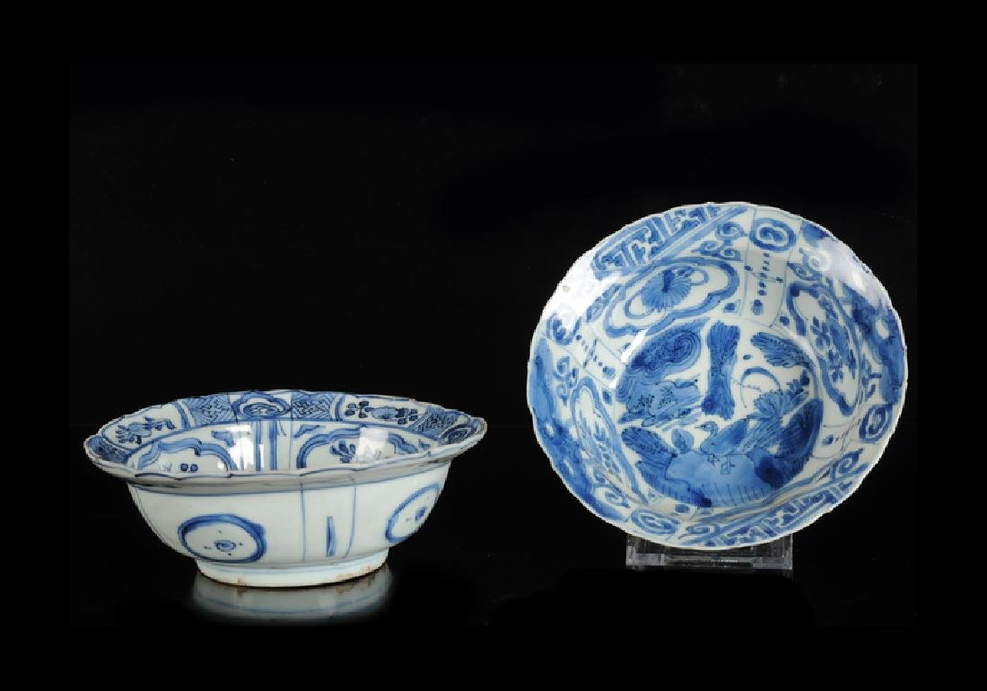 Two blue and white porcelain 'klapmuts' bowls with a