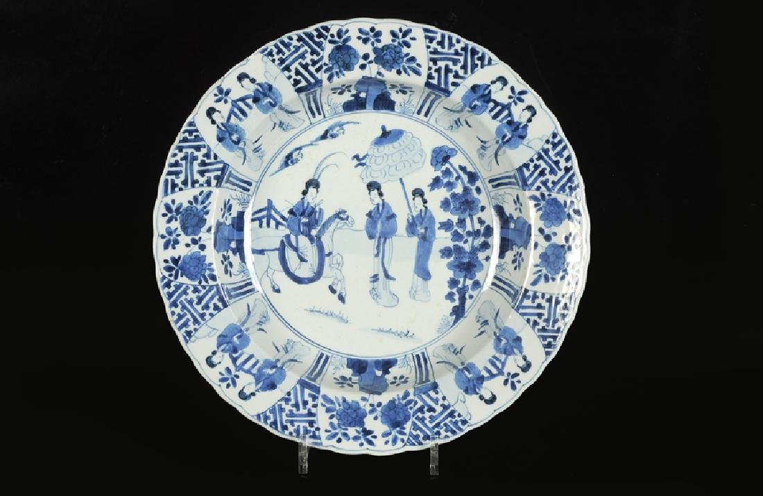 A blue and white porcelain large deep dish, decorated