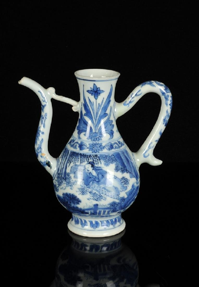 A blue and white porcelain wine jar decorated with