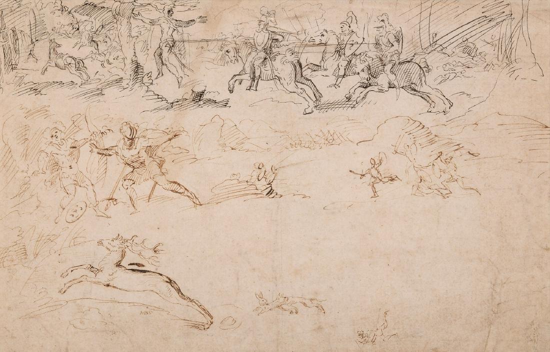 Hollandse School (17e eeuw) 'Studie. Vechtscènes met