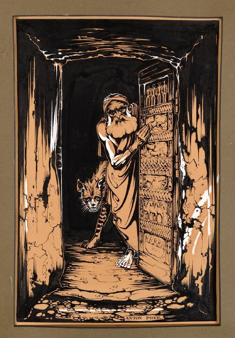 Anton Pieck (1895-1987) 'Man in deuropening',