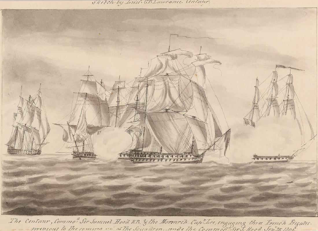 G.B. Lawrance (19e eeuw) 'The Centaur engaging three