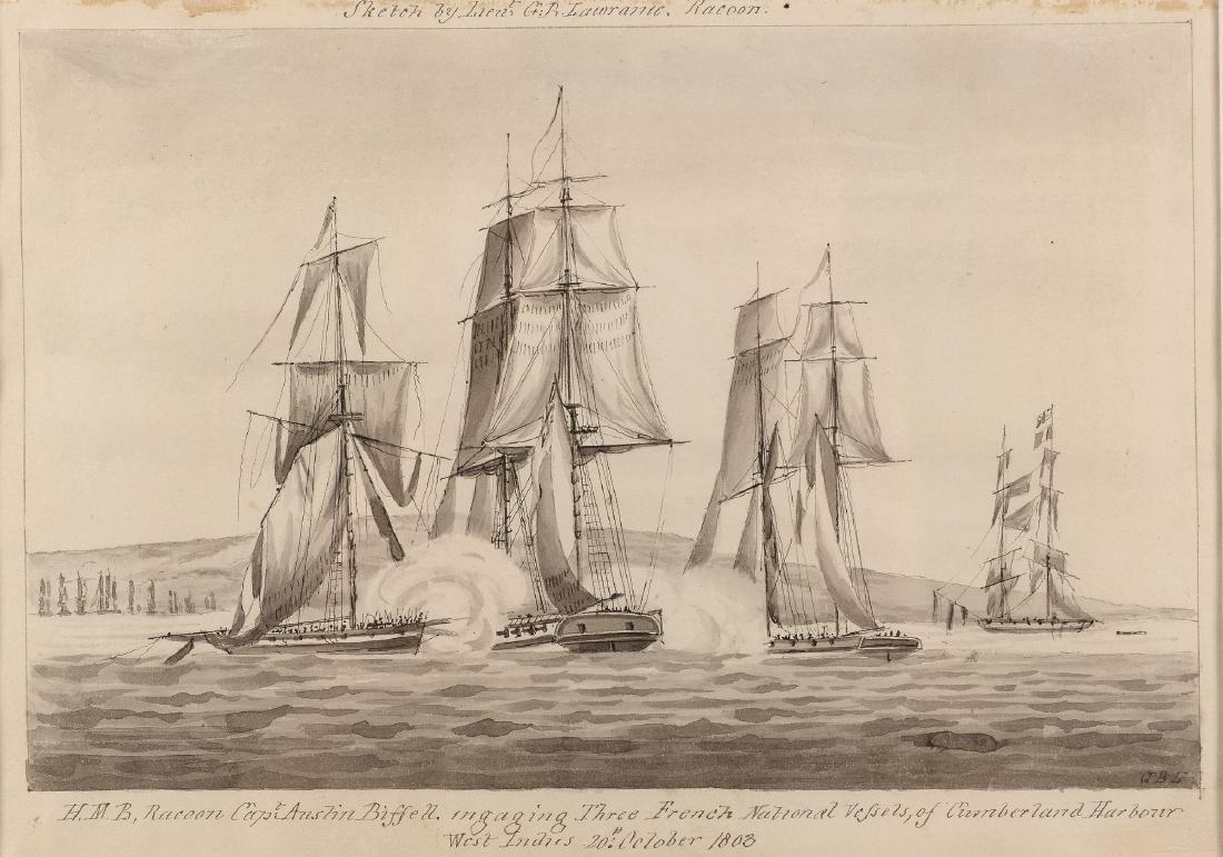 G.B. Lawrance (19e eeuw) 'H.M.B, racoon Capt.: Anslin