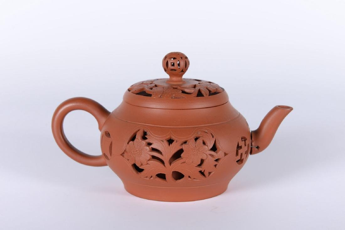 A Yixing teapot with devil's work floral decorations. - 3