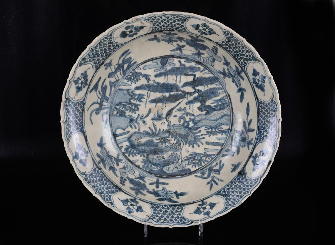 A large blue and white porcelain Swatow bowl decorated