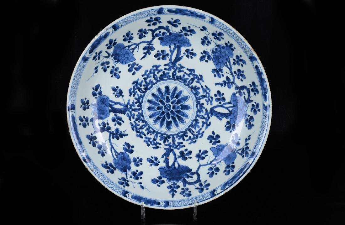 A deep blue and white porcelain charger with geometric - 2