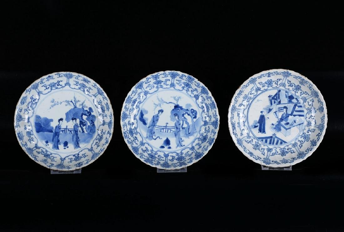 Lot of three blue and white porcelain dishes decorated