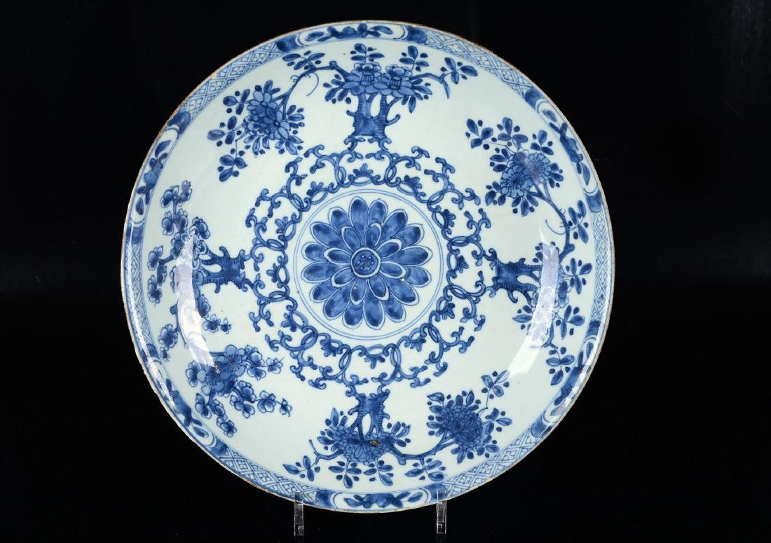 A deep blue and white porcelain charger with geometric