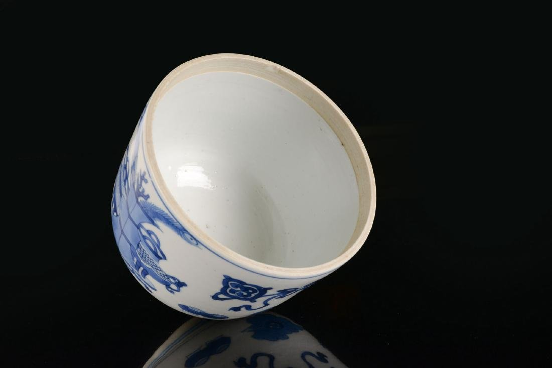 A blue and white porcelain beaker with a decor of - 6