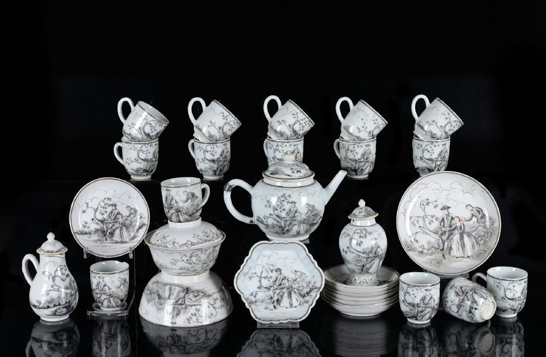 A 30-piece Encre-de-Chine porcelain tea service with