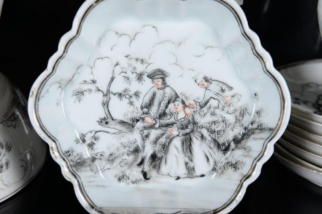 A 30-piece Encre-de-Chine porcelain tea service with - 2