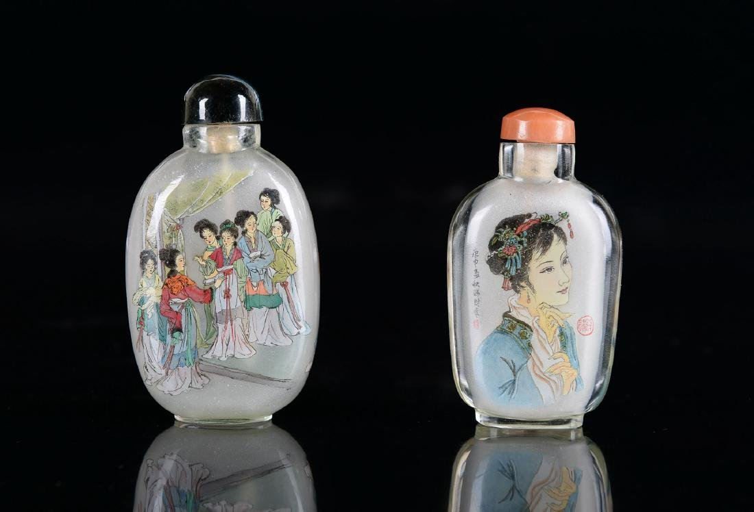 Lot of two rock cristal snuff bottles with inside - 2