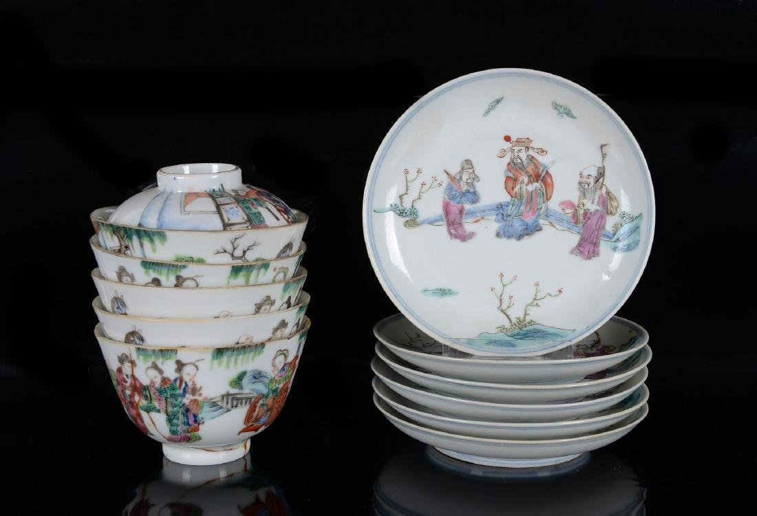 Lot of six polychrome porcelain saucers and five cups