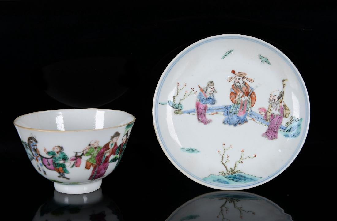 Lot of six polychrome porcelain saucers and five cups - 2