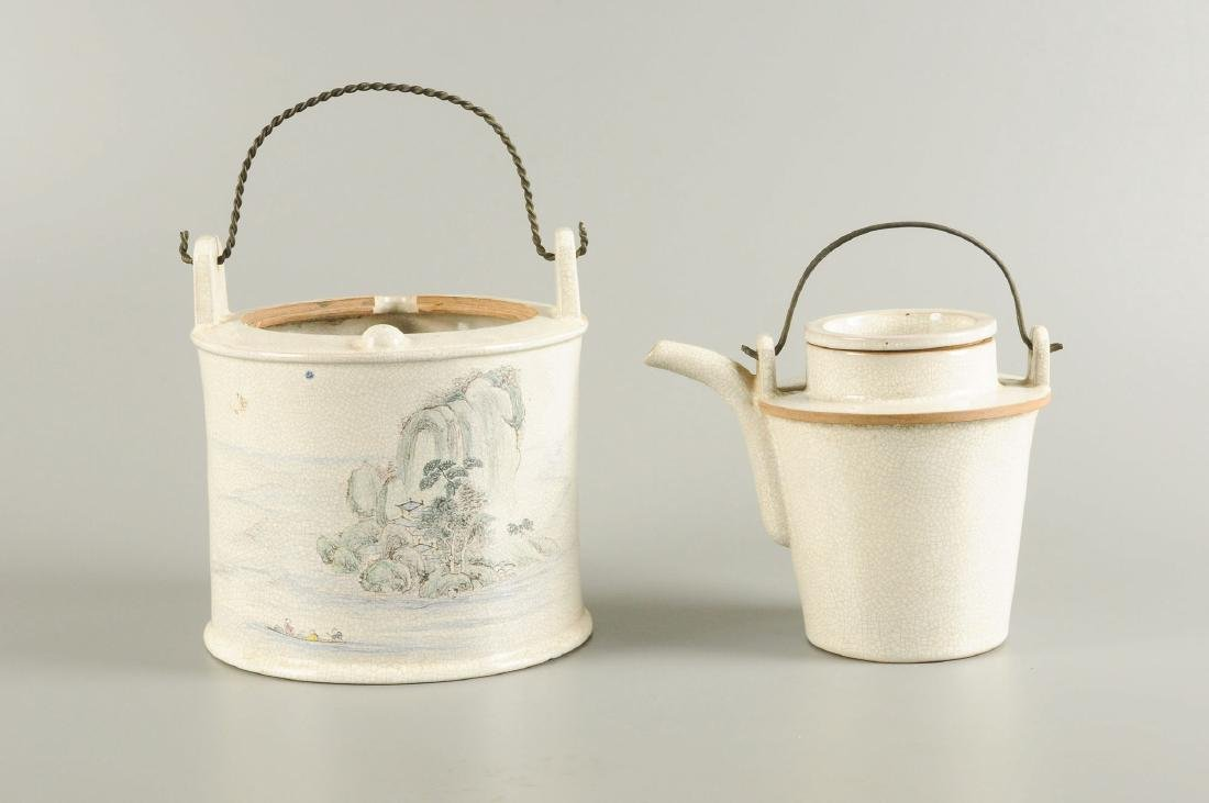 A cream glazed Yixing winewarmer, decorated with - 8