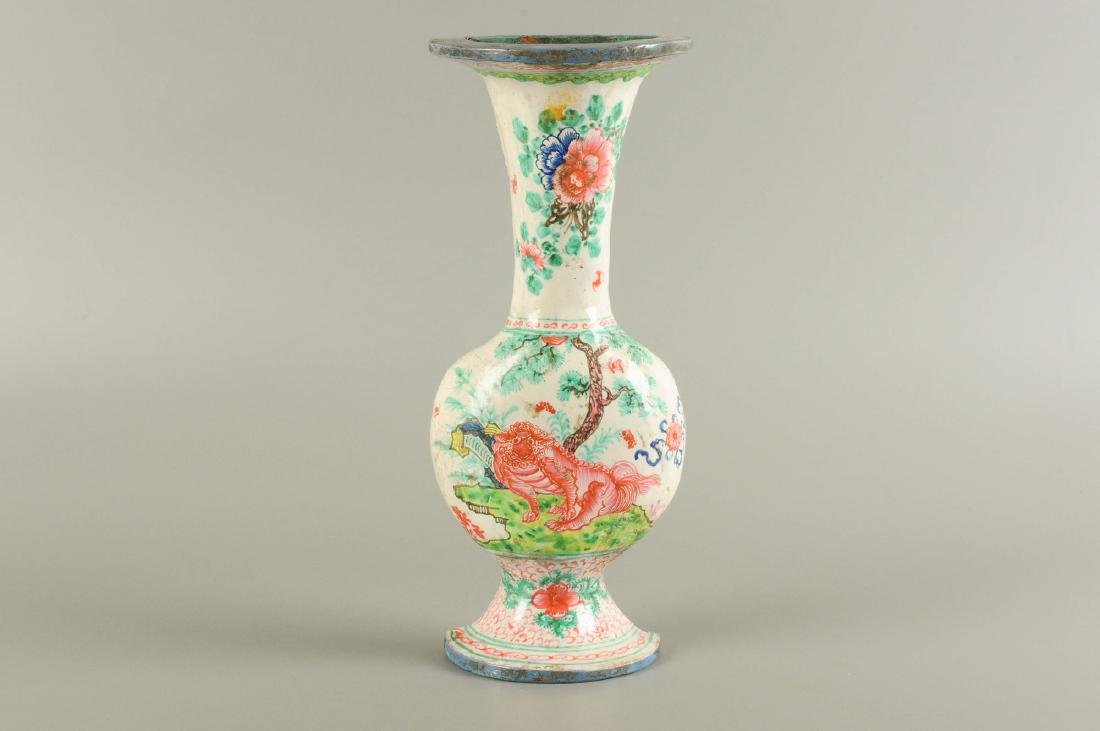 A polychrome porcelain wall vase, decorated with a