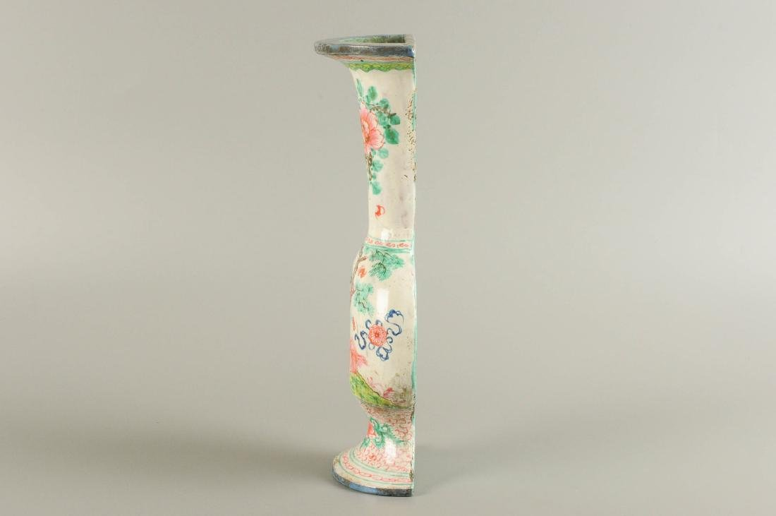 A polychrome porcelain wall vase, decorated with a - 2