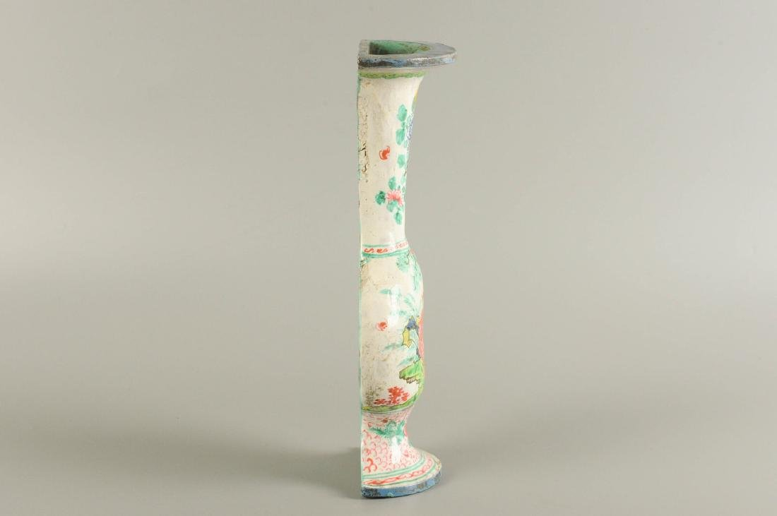 A polychrome porcelain wall vase, decorated with a - 4