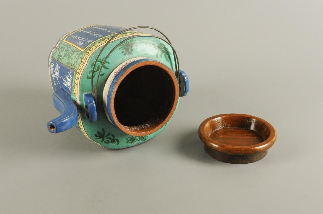 A polychrome glazed Yixing teapot, decorated with - 2