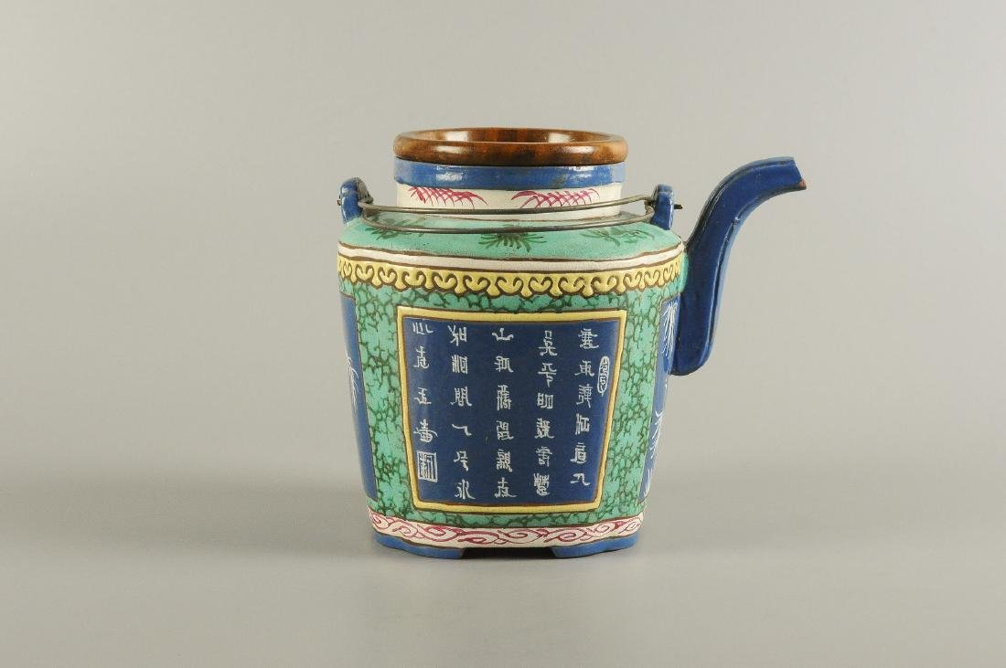 A polychrome glazed Yixing teapot, decorated with - 5
