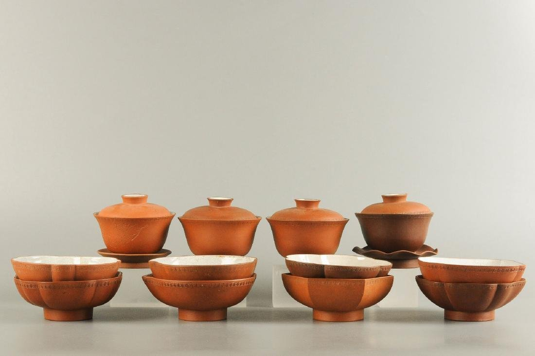 Lot of various Yixing items, containing eight bowls,