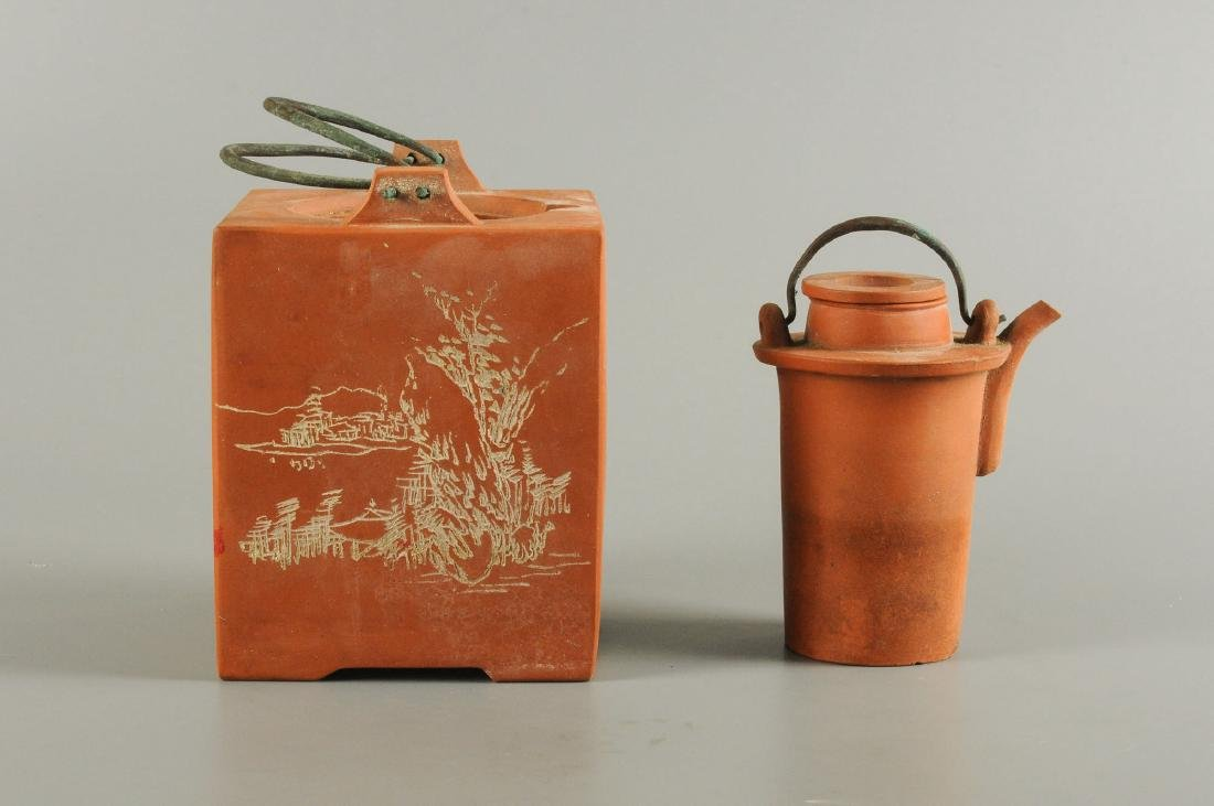 A square Yixing teapot decorated with floral design and - 8