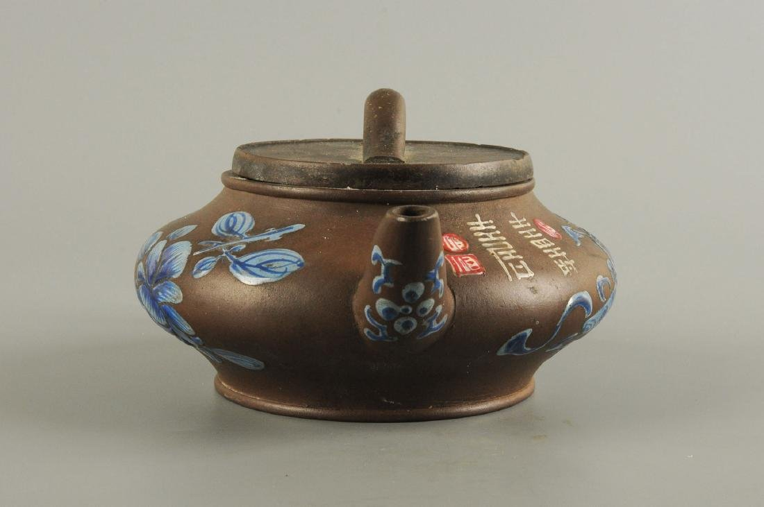 A Yixing teapot decorated with floral design. Unmarked. - 7