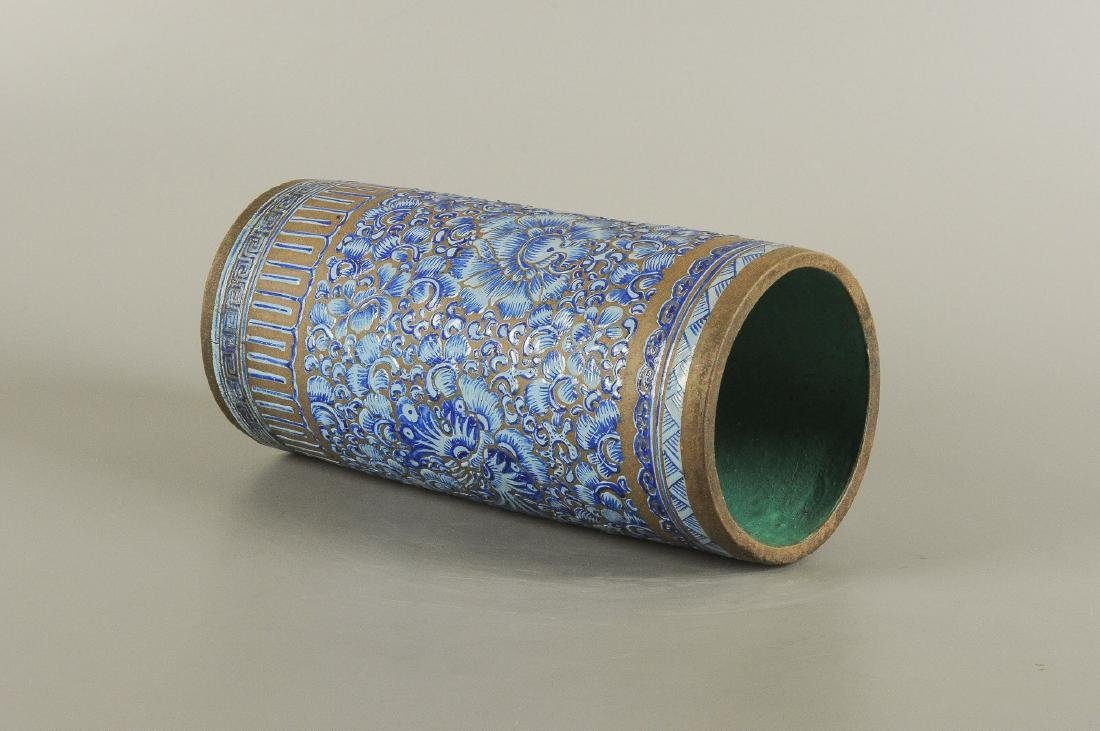 A Yixing blue glazed brush pot, decorated with floral - 2