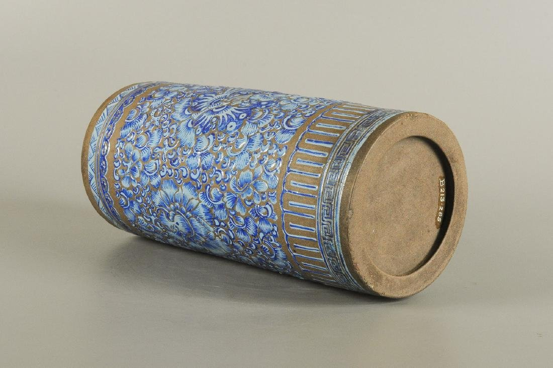 A Yixing blue glazed brush pot, decorated with floral - 3