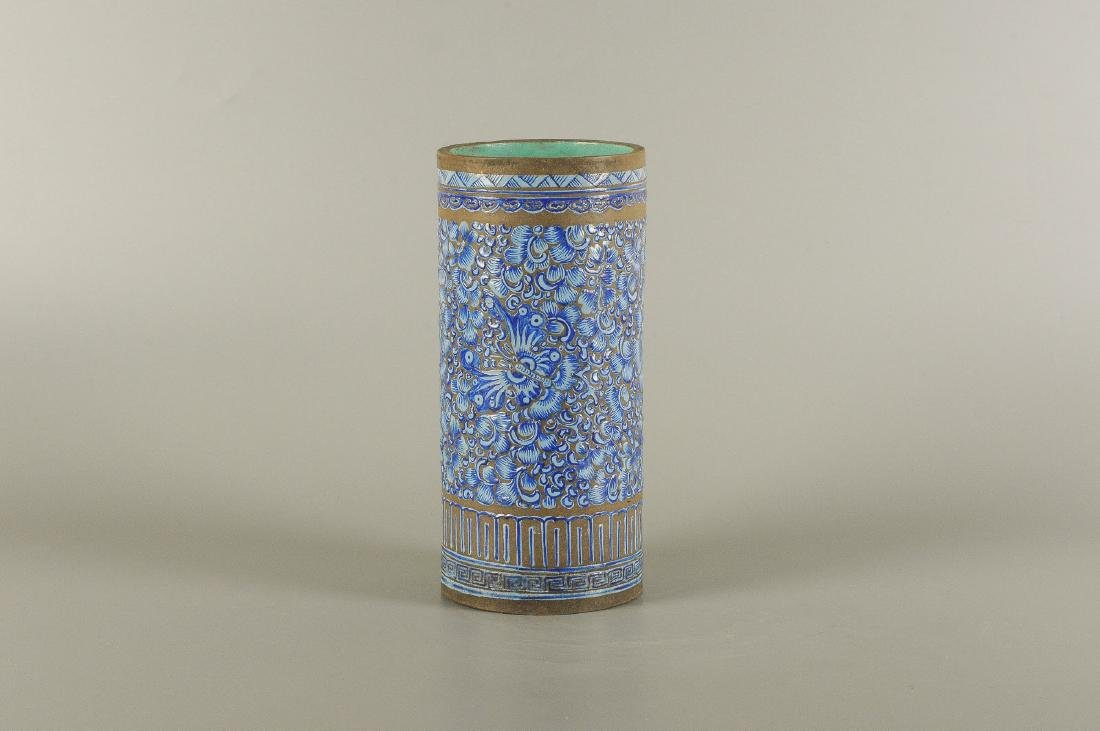 A Yixing blue glazed brush pot, decorated with floral - 4