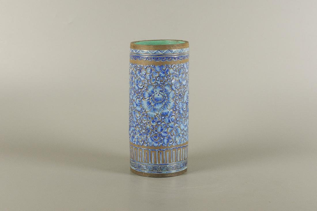 A Yixing blue glazed brush pot, decorated with floral - 5