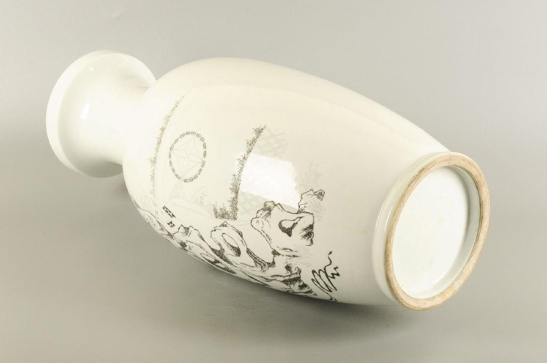 A black and white engraved porcelain vase, decorated - 3