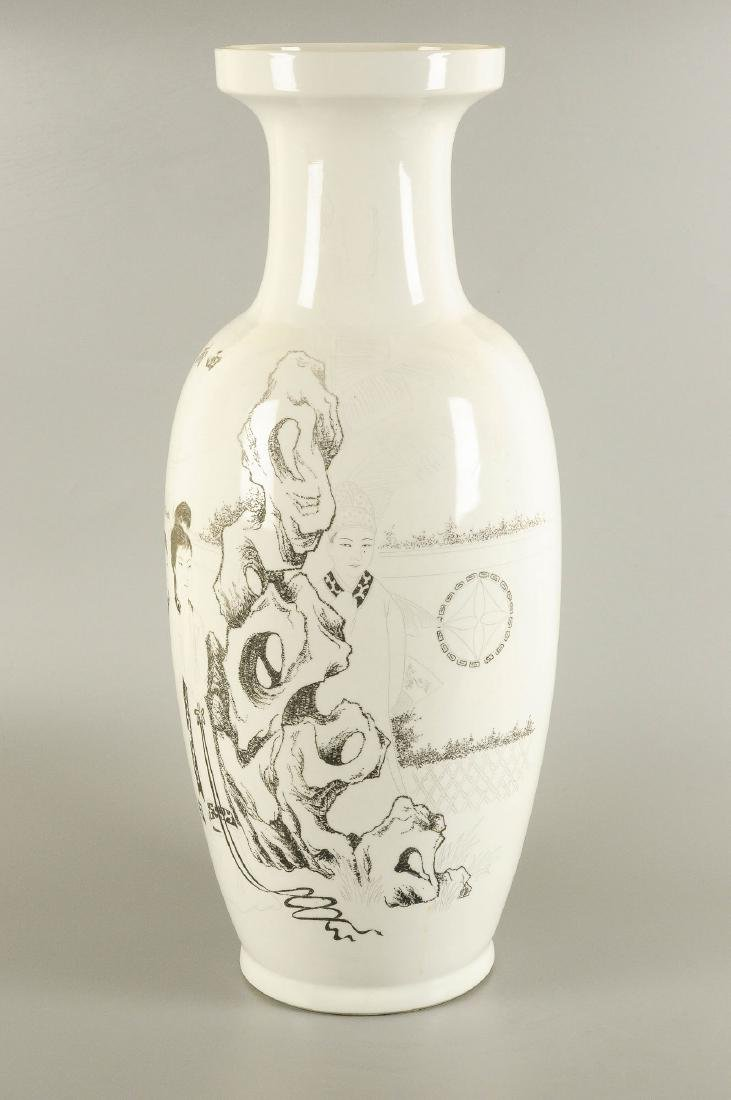 A black and white engraved porcelain vase, decorated - 4