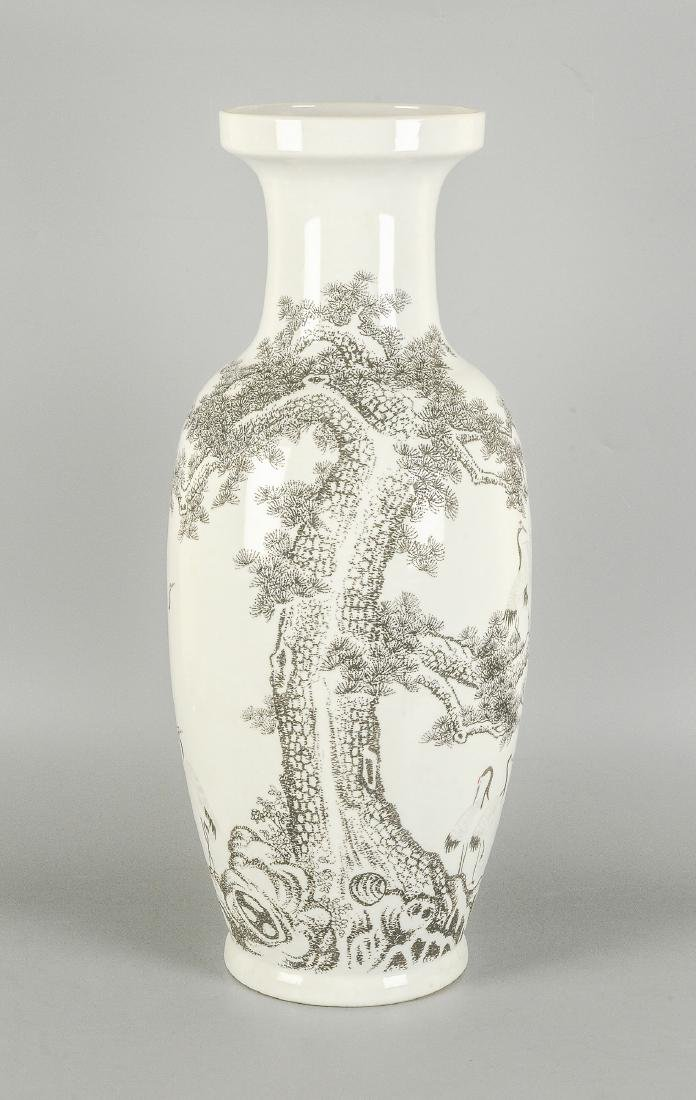 A black and white porcelain vase, decorated with floral - 5
