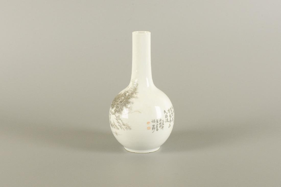 A porcelain longneck vase with a black ink decor of a - 5