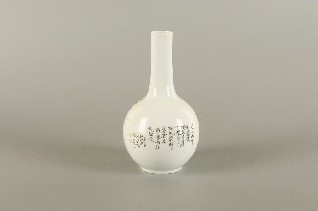 A porcelain longneck vase with a black ink decor of a - 6