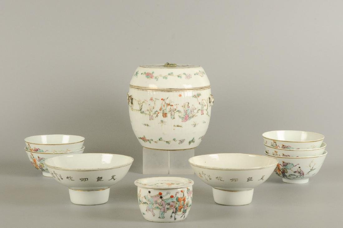 A polychrome porcelain lidded pot with thread eyes and